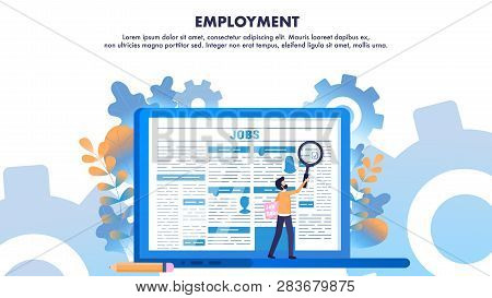 Man Use Loupe Search Employment Newspaper Page. Find Job Online. Laptop With Vacancy Article On Moni