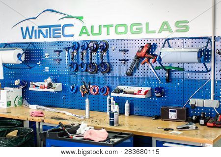 Koblenz Gerrmany 04.04.2018 Epairing Equipment To Fix Damaged Cracked Windshield At Wintec Company