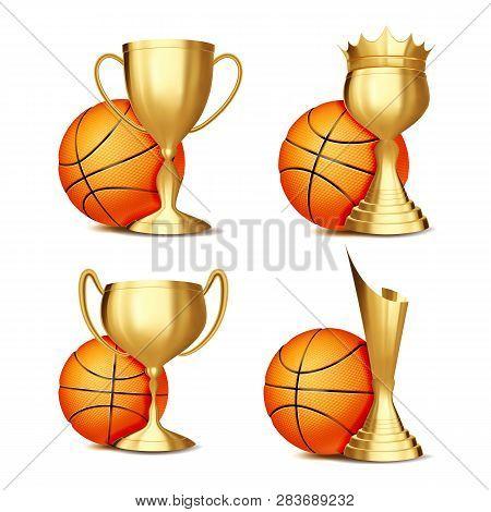 Basketball Game Award Set Vector. Basketball Ball, Golden Cup. Modern Basketball Tournament. Design