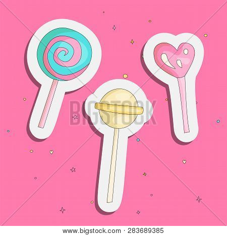 Cute Funny Girl Teenager Colored Icon Set Sticker Lollipops, Fashion Cute Teen And Princess Icons. M