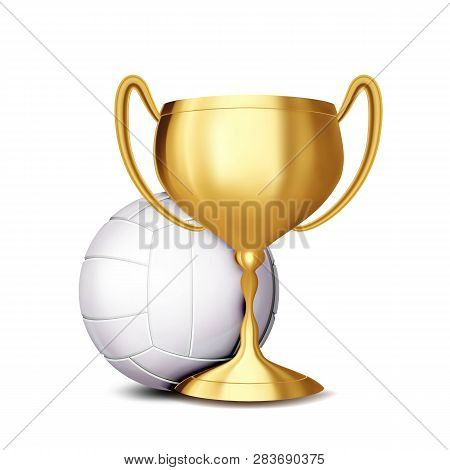 Volleyball Award Vector. Volleyball Ball, Golden Cup. Sports Game Event Announcement. Volleyball Ban
