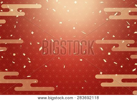 Japanese Pattern Background With A Flying Gold Confetti