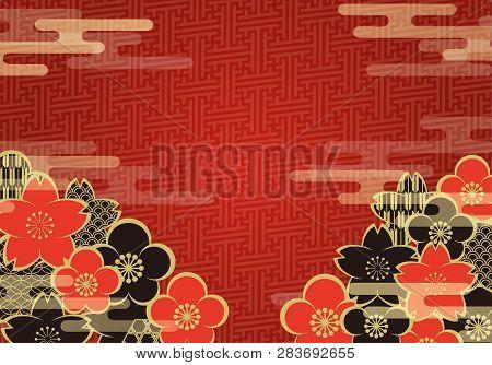 Japanese Vintage Pattern Background With Sakura, Plum Flower, And Cloud