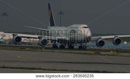 Frankfurt Am Main, Germany - July 21, 2017: Jumbojet Boeing 747 Of Lufthansa Airlines Taxiing To The