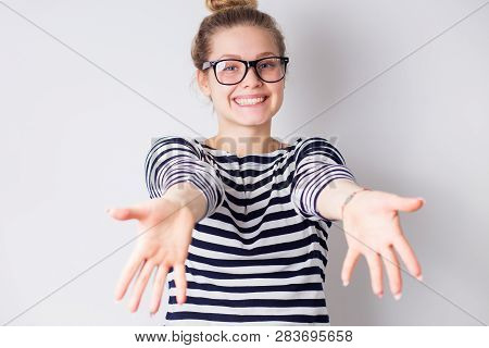 Beautiful Woman Happy And Excited Expressing Pulling Hands To Hug
