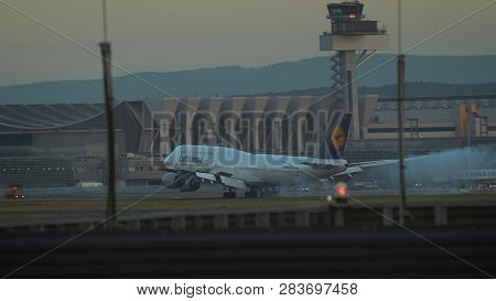 Frankfurt Am Main, Germany - July 19, 2017: Boeing 747-830 D-abyj Of Lufthansa Approaching To Frankf