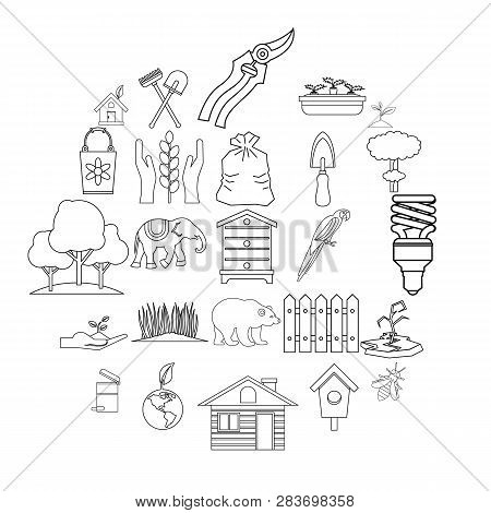 Ecological Assistance Icons Set. Outline Set Of 25 Ecological Assistance Vector Icons For Web Isolat