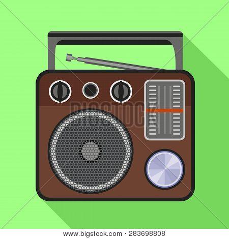 Portable Speaker Radio Icon. Flat Illustration Of Portable Speaker Radio Vector Icon For Web Design