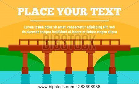 Beton Bridge Concept Banner. Flat Illustration Of Beton Bridge Vector Concept Banner For Web Design