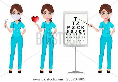 Medical Doctor Woman, Set Of Three Poses. Cardiologist, Ophthalmologist And Dentist. Medicine, Healt
