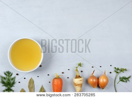 Broth With Ingredients.clear Broth Is Made By Simmering  Meat Or Bones And Vegetables. Prepared With