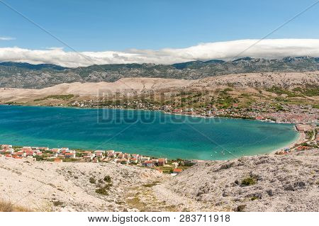 Panorama Of Pag Town On Pag Island With Velebit Mountains On Background, Kvarner, Croatia