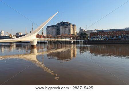 Puente De La Mujer, Spanish For Womans Bridge Over Rio De La Plata River, Puerto Madero, Buenos Aire