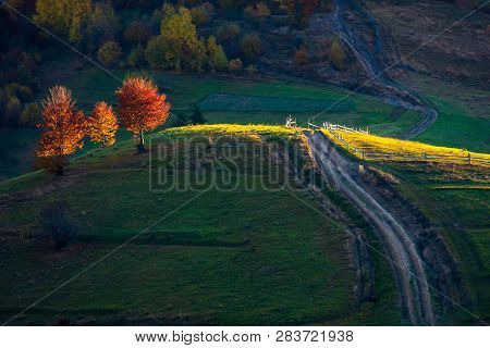 Beautiful Autumn Countryside In Mountains. Wooden Fence Along The Road Uphill. Drop Of Light On Red