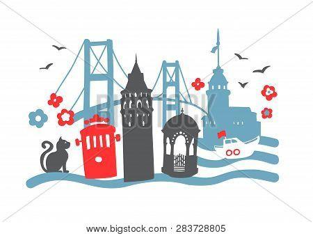 Istanbul Landmarks. Hand Drawn Doodle Turkish Symbols: The Galata Tower, Tram, Bosphorus Bridge, Mai