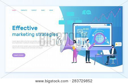 Effective Marketing Strategies Website Vector, Optimization Of Web. Workers With Magnifying Glass Ma