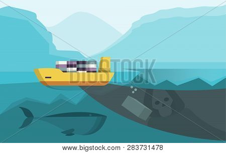 Container Sinking Into Ocean As Danger For Sealife And Global Environment. Cargo Ship With Container