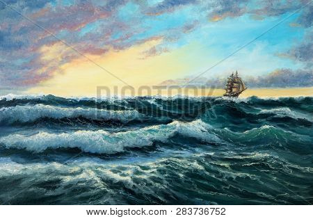 Original Oil Painting Showing  Ship   In  Stormy Ocean Or Sea On Canvas. Modern Impressionism, Moder