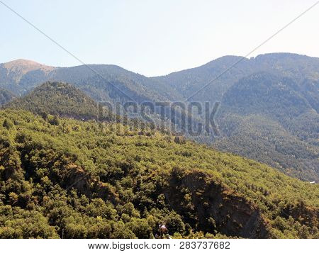 View Of The Pyrenees Mountains From The  Principality Of Andorra In Good Summer Weather.