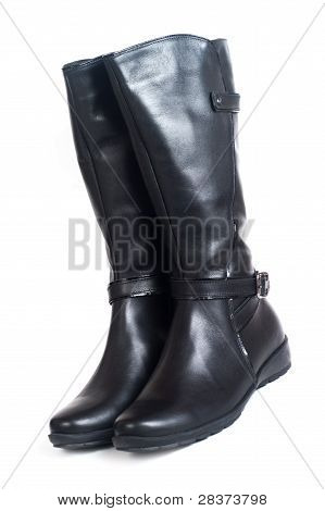 Women's high boots isolated on white