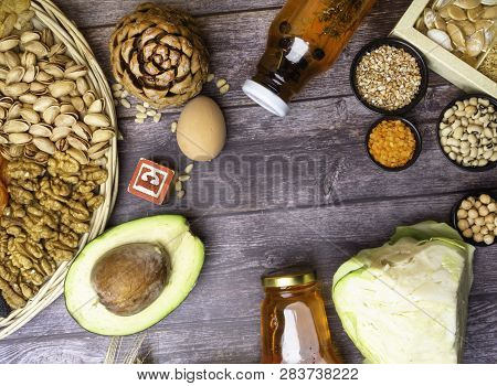 Food Is Source Of Vitamin E. Various Natural Food Rich In Vitamins. Useful Food For Health And Balan