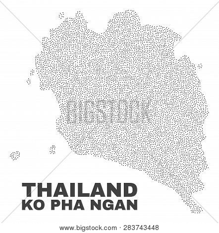 Ko Pha Ngan Map Designed With Little Points. Vector Abstraction In Black Color Is Isolated On A Whit