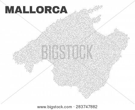 Mallorca Map Designed With Little Dots. Vector Abstraction In Black Color Is Isolated On A White Bac
