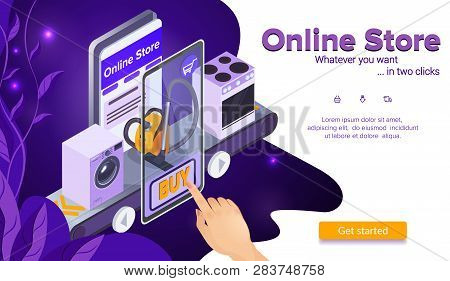 Buy Vacuum Cleaner. Online Shopping Concept. Hand Clicks Buy Button. Stove And Washing Machine. E-co