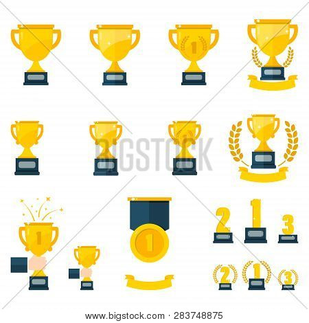 Award Winner Icon - Winner Flat Icon- Win Medal Icon - Award Illustration. Reward Sign Symbol. Winne