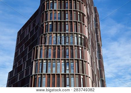 Copenhagen, Denmark - February 12, 2019: Facade Of The Maersk Tower, A Research Facility And An Exte