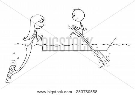 Cartoon Stick Figure Drawing Of Man Paddling In Small Boat With Paddles On Water Or Sea And Meet A B