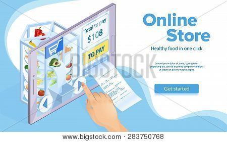 Online Food Shopping Concept. Hand Clicks Buy. Price And Paper Receipt Check. E-commerce And Marketi