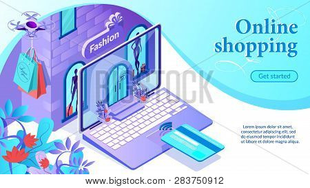 Online Shopping. Internet Fashion Store In Laptop. Door, Windows And Showcases. Buy Clothes Online.