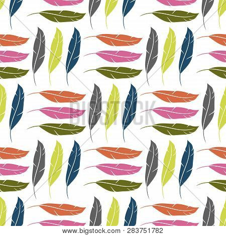 Colorful Feather Silhouette Collection Isolated On White Background. Weightless Seamless Pattern