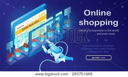Astronaut Buys Food With Tablet. Fast Delivery Concept. Online Food Store. Online Shopping. Small Co
