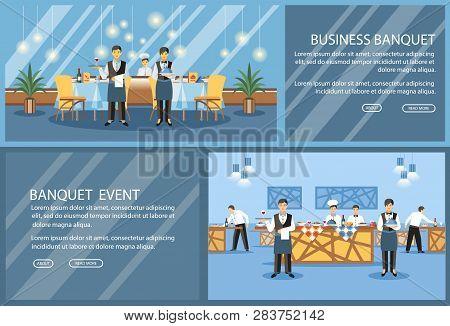 Restaurant Flat Landing Page Vector Template. Banquet Hall, Event Center Website, Webpage. Waiters,