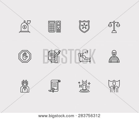 Court Icons Set. Auction And Court Icons With Insurance, Crime And Stop. Set Of Payment For Web App