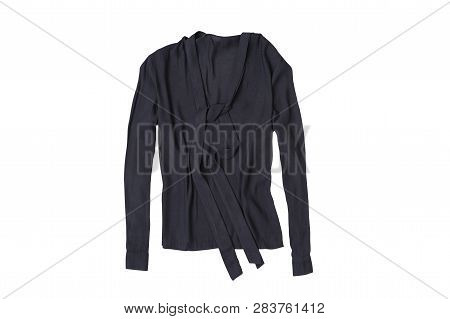 Dark Gray Blouse Isolate On White Background, Flat Lay.