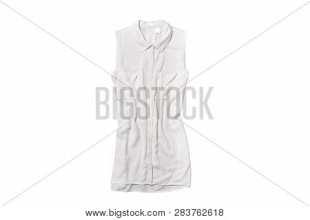 White Blouse Isolate On White Background. Top View.