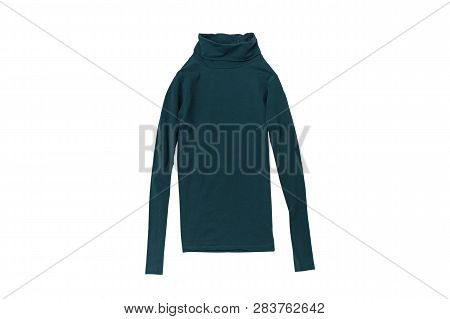 Emerald Turtleneck Flat Lay. Fashion Concept. Isolate On White Background.