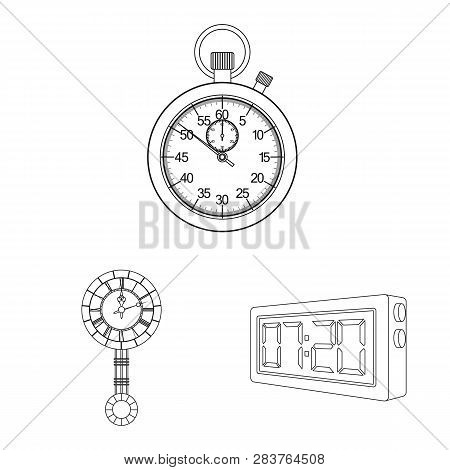 Isolated Object Of Clock And Time Sign. Set Of Clock And Circle Stock Vector Illustration.
