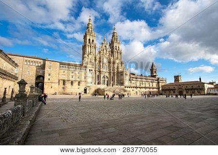 Santiago De Compostela, Spain. February 10 2019: Santiago De Compostela Cathedral View From Obradoir