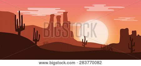 Beautiful Widescreen Red Sunset Desert Landscape With Sandstone Mountains And Cactus Plants.