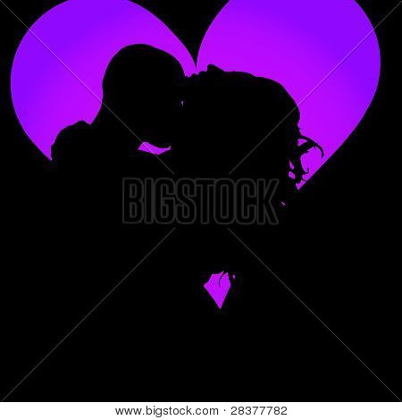 Couple Kissing In Heart Vector Illustration