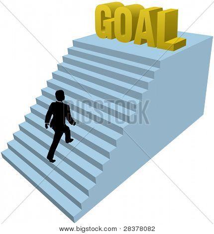 Geschäftsmann steigt Treppenstufen Erfolg Ziel zu erreichen