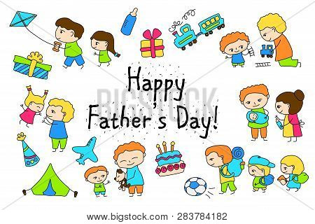 Happy Father's Day Vector Clipart With Child Drawing Of Family Scenes. Happy Father Day Stickers. Ki