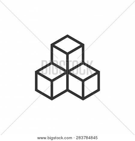 Blockchain Technology Vector Icon In Flat Style. Cryptography Cube Block Illustration. Blockchain Al