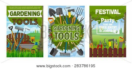 Gardening Festival, Farming Tools And Equipment. Vector Forks And Spit, Shovel And Ax, Scissors And