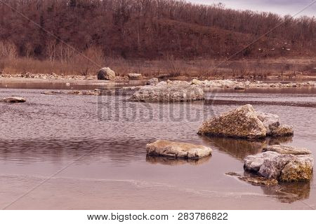 A Rocky, Rugged Area At Pensacola Dam Located In Langley, Oklahoma 2019