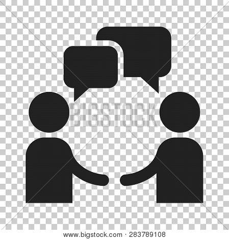 Talk People Icon In Flat Style. Man With Speech Bubble Illustration On Isolated Transparent Backgrou